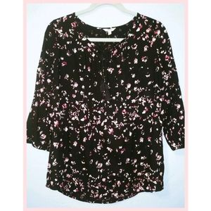 Sonoma Peasant Floral Shirt Pleated Neck Medium